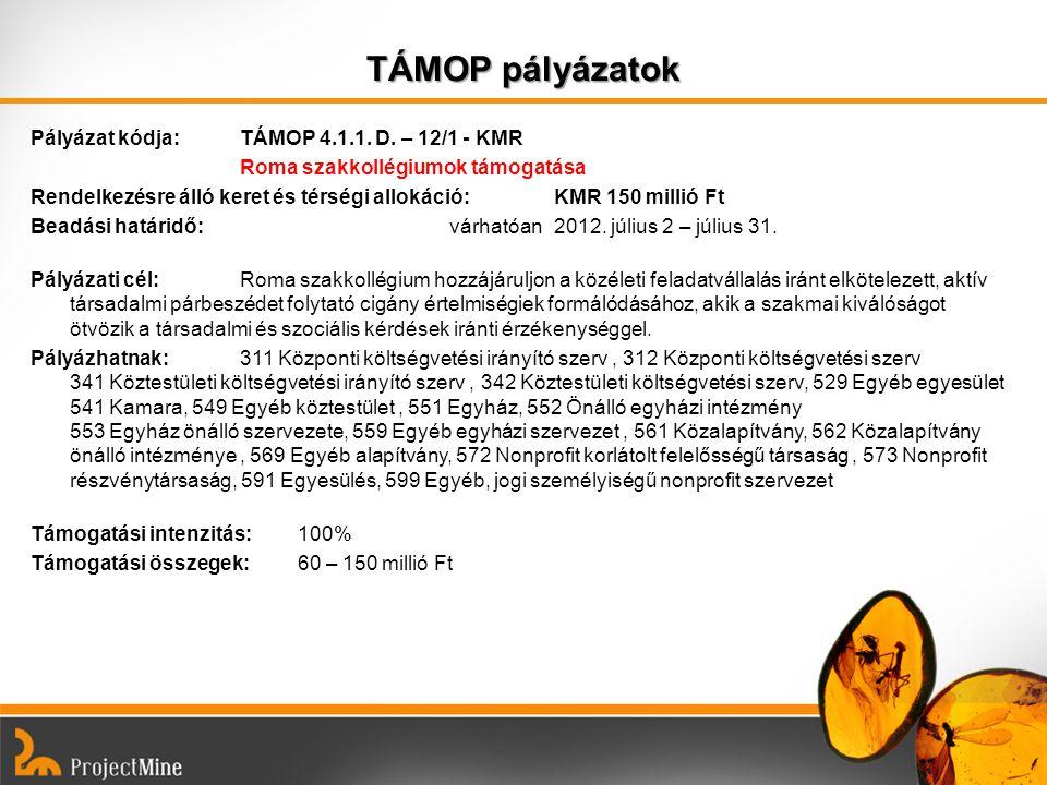 TÁMOP pályázatok Pályázat kódja: TÁMOP 4.1.1. D. – 12/1 - KMR Roma szakkollégiumok támogatása Rendelkezésre álló keret és térségi allokáció:KMR 150 mi