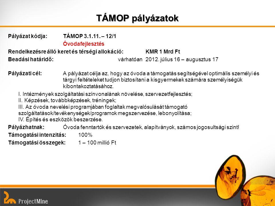 TÁMOP pályázatok Pályázat kódja: TÁMOP 3.1.11. – 12/1 Óvodafejlesztés Rendelkezésre álló keret és térségi allokáció:KMR 1 Mrd Ft Beadási határidő: vár