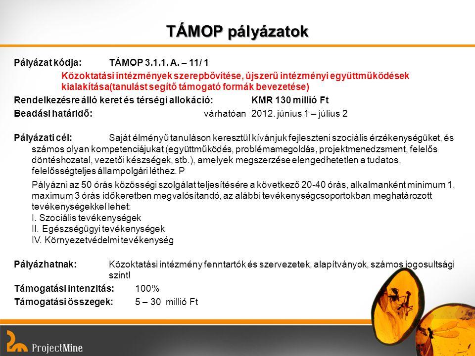 TÁMOP pályázatok Pályázat kódja: TÁMOP 3.1.1. A. – 11/ 1 Közoktatási intézmények szerepbővítése, újszerű intézményi együttműködések kialakítása(tanulá