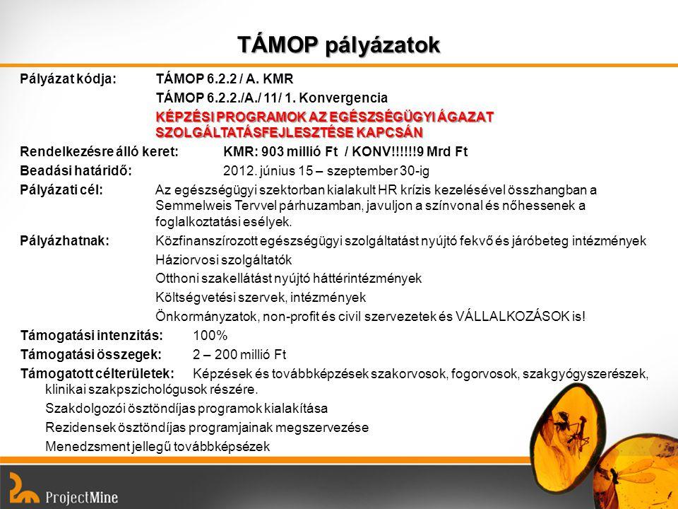 TÁMOP pályázatok Pályázat kódja: TÁMOP 6.2.2 / A. KMR TÁMOP 6.2.2./A./ 11/ 1. Konvergencia KÉPZÉSI PROGRAMOK AZ EGÉSZSÉGÜGYI ÁGAZAT SZOLGÁLTATÁSFEJLES