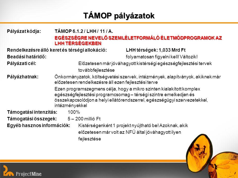 TÁMOP pályázatok Pályázat kódja: TÁMOP 6.1.2 / LHH / 11 / A. EGÉSZSÉGRE NEVELŐ SZEMLÉLETFORMÁLÓ ÉLETMÓDPROGRAMOK AZ LHH TÉRSÉGEKBEN Rendelkezésre álló