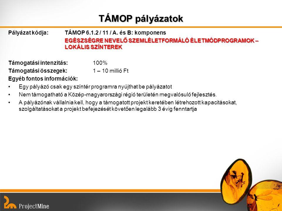 TÁMOP pályázatok Pályázat kódja: TÁMOP 6.1.2 / 11 / A. és B: komponens EGÉSZSÉGRE NEVELŐ SZEMLÉLETFORMÁLÓ ÉLETMÓDPROGRAMOK – LOKÁLIS SZÍNTEREK Támogat