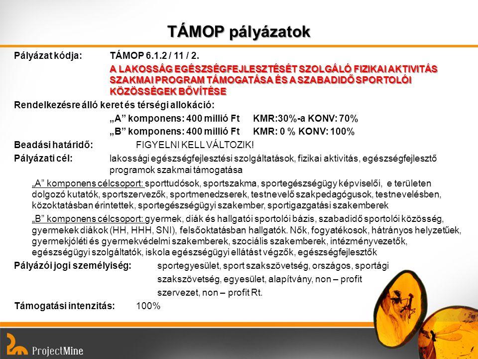 TÁMOP pályázatok Pályázat kódja: TÁMOP 6.1.2 / 11 / 2. A LAKOSSÁG EGÉSZSÉGFEJLESZTÉSÉT SZOLGÁLÓ FIZIKAI AKTIVITÁS SZAKMAI PROGRAM TÁMOGATÁSA ÉS A SZAB