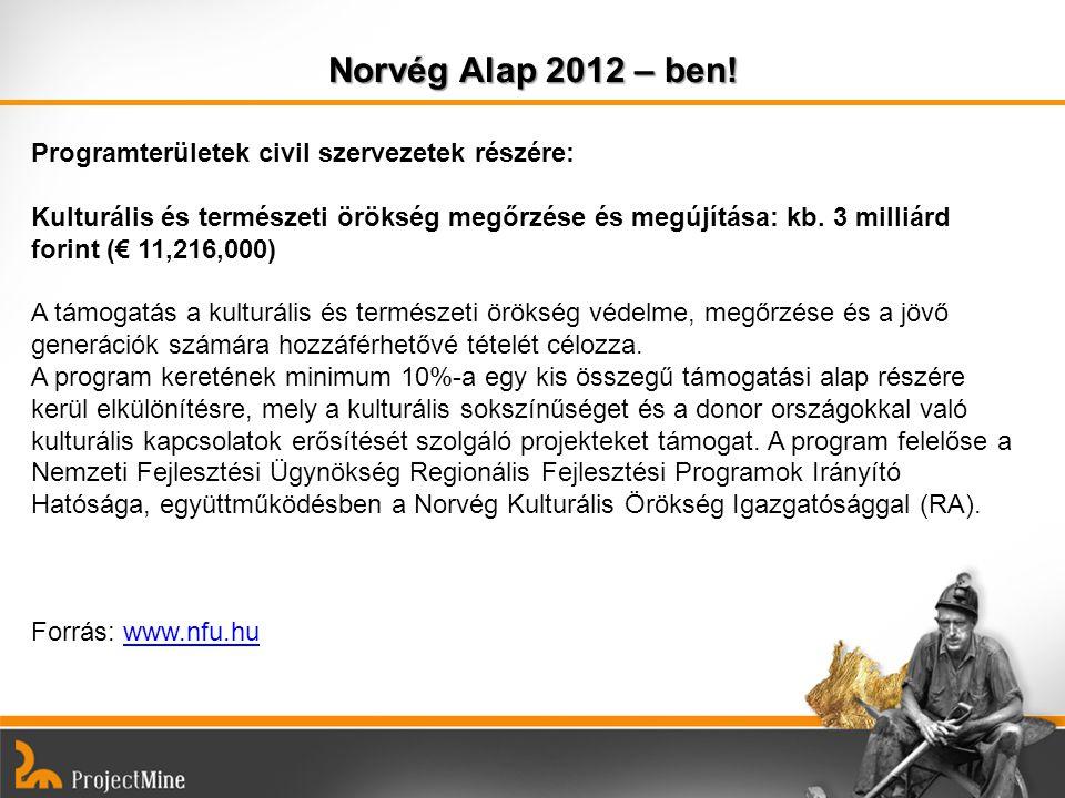 Norvég Alap 2012 – ben! Programterületek civil szervezetek részére: Kulturális és természeti örökség megőrzése és megújítása: kb. 3 milliárd forint (€