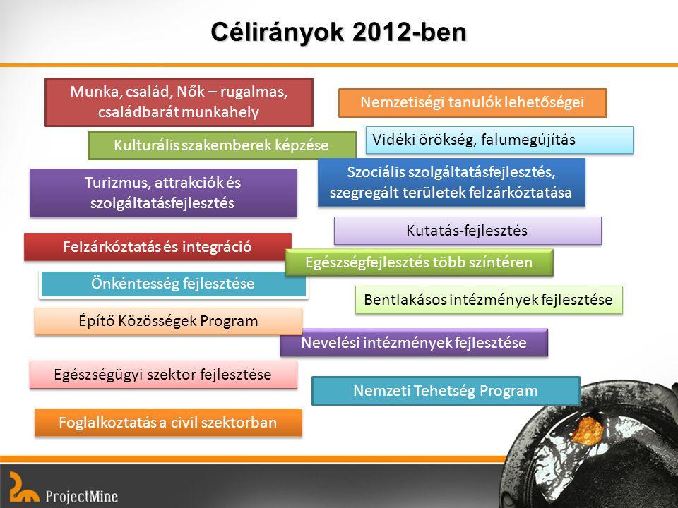 Célirányok 2012-ben Kulturális szakemberek képzése Felzárkóztatás és integráció Nevelési intézmények fejlesztése Nemzetiségi tanulók lehetőségei Szoci