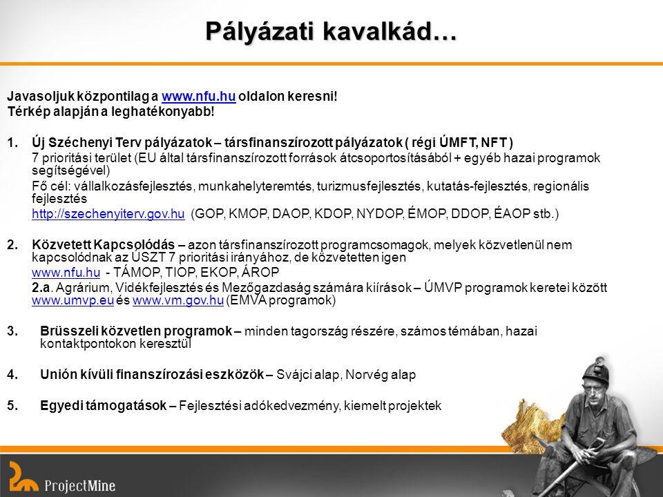 Pályázati kavalkád… Javasoljuk központilag a www.nfu.hu oldalon keresni!www.nfu.hu Térkép alapján a leghatékonyabb! 1.Új Széchenyi Terv pályázatok – t