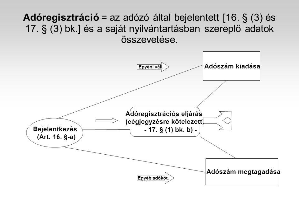 Adóregisztráció = az adózó által bejelentett [16. § (3) és 17. § (3) bk.] és a saját nyilvántartásban szereplő adatok összevetése. Bejelentkezés (Art.