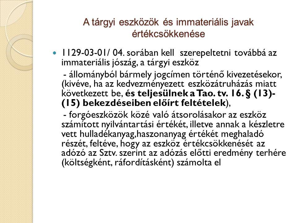 A tárgyi eszközök és immateriális javak értékcsökkenése 1129-03-01/ 04. sorában kell szerepeltetni továbbá az immateriális jószág, a tárgyi eszköz - á