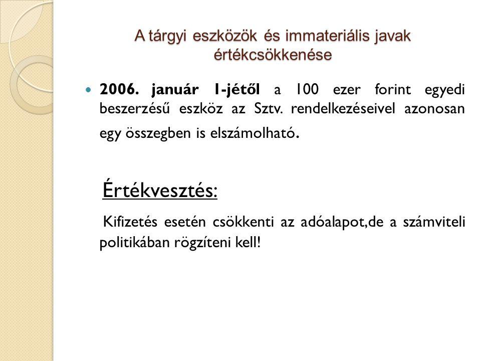 A tárgyi eszközök és immateriális javak értékcsökkenése 2006. január 1-jétől a 100 ezer forint egyedi beszerzésű eszköz az Sztv. rendelkezéseivel azon