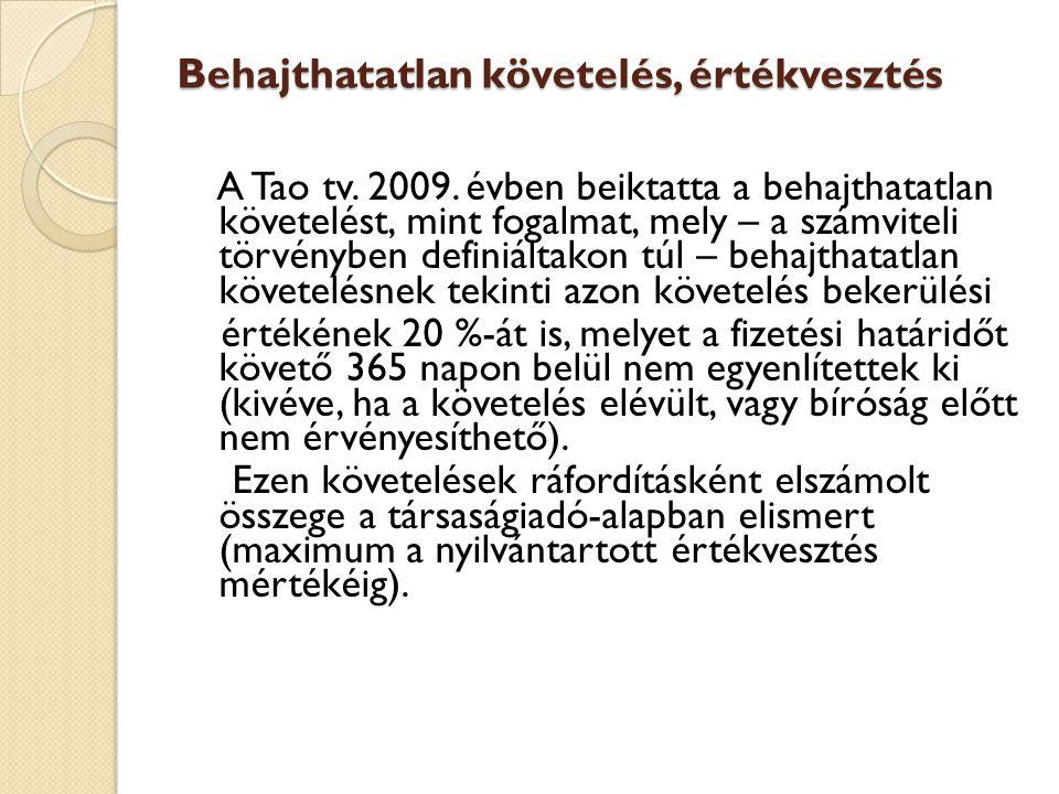 Behajthatatlan követelés, értékvesztés A Tao tv. 2009. évben beiktatta a behajthatatlan követelést, mint fogalmat, mely – a számviteli törvényben defi