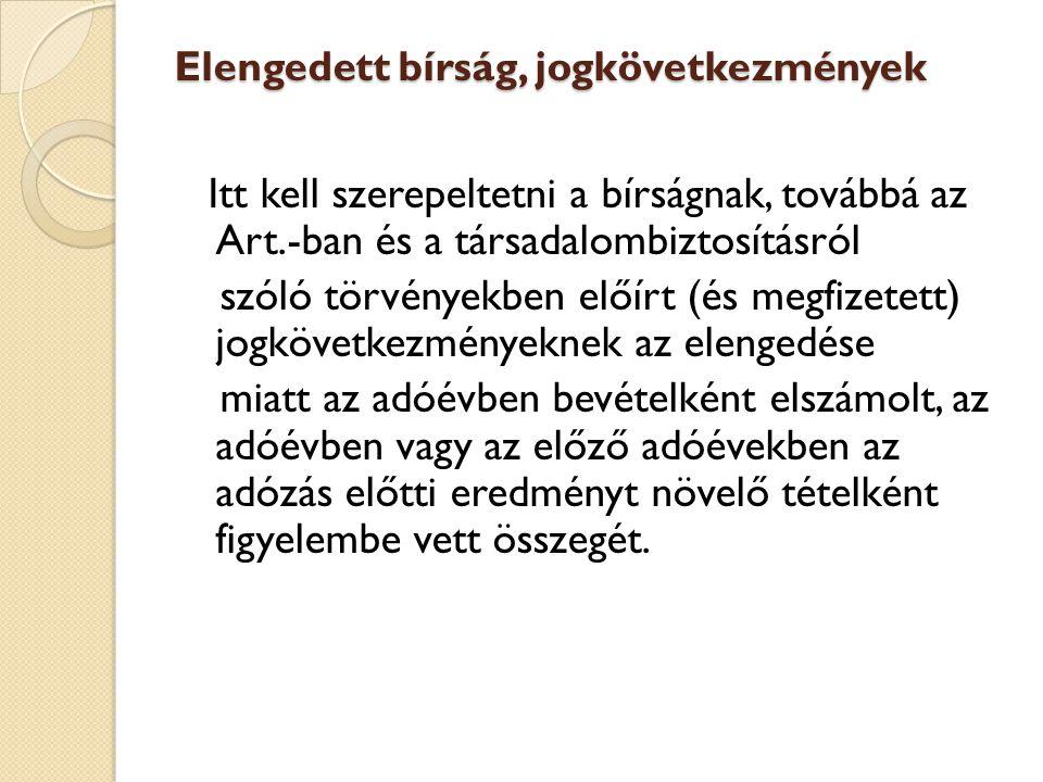 Elengedett bírság, jogkövetkezmények Itt kell szerepeltetni a bírságnak, továbbá az Art.-ban és a társadalombiztosításról szóló törvényekben előírt (é