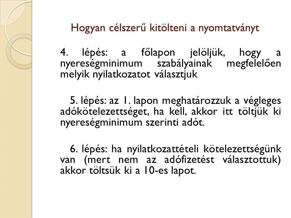 Hogyan célszerű kitölteni a nyomtatványt 4. lépés: a főlapon jelöljük, hogy a nyereségminimum szabályainak megfelelően melyik nyilatkozatot választjuk