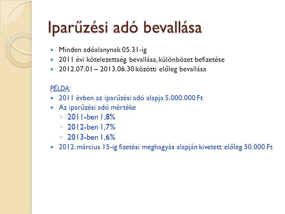 Minden adóalanynak 05.31-ig 2011 évi kötelezettség bevallása, különbözet befizetése 2012.07.01 – 2013.06.30 közötti előleg bevallása PÉLDA: 2011 évben