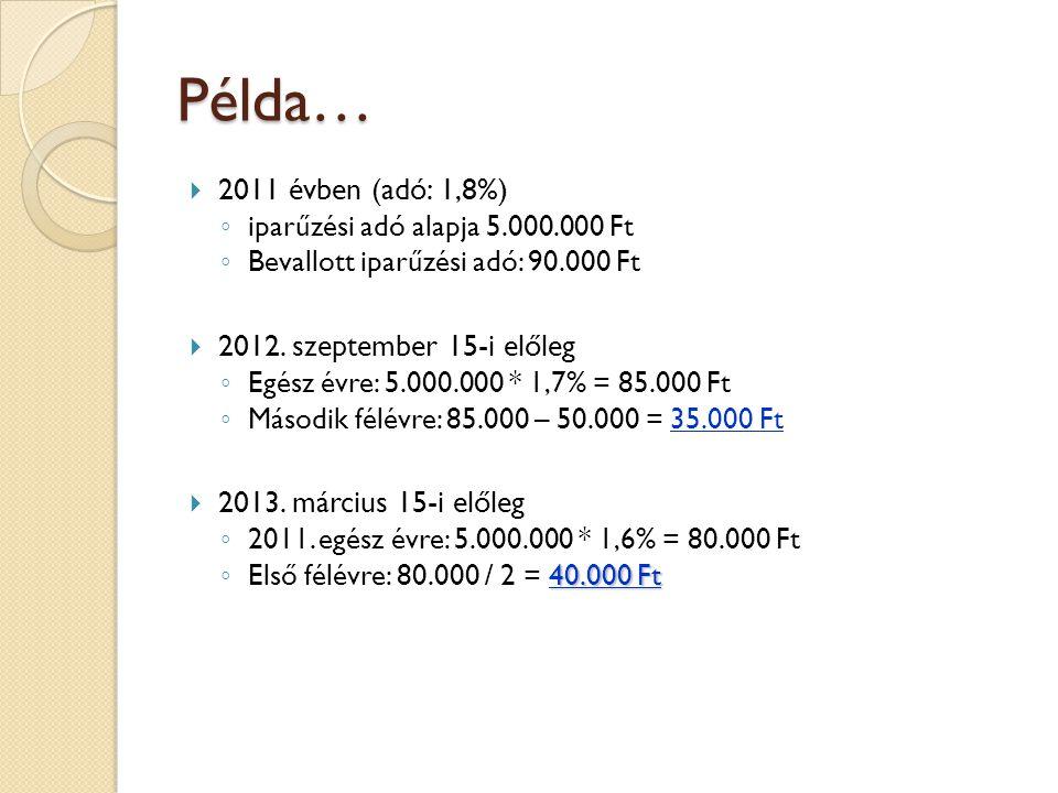  2011 évben (adó: 1,8%) ◦ iparűzési adó alapja 5.000.000 Ft ◦ Bevallott iparűzési adó: 90.000 Ft  2012. szeptember 15-i előleg ◦ Egész évre: 5.000.0