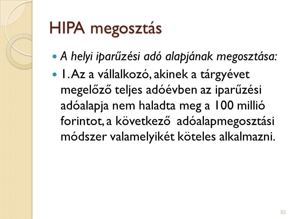 93 HIPA megosztás A helyi iparűzési adó alapjának megosztása: 1. Az a vállalkozó, akinek a tárgyévet megelőző teljes adóévben az iparűzési adóalapja n