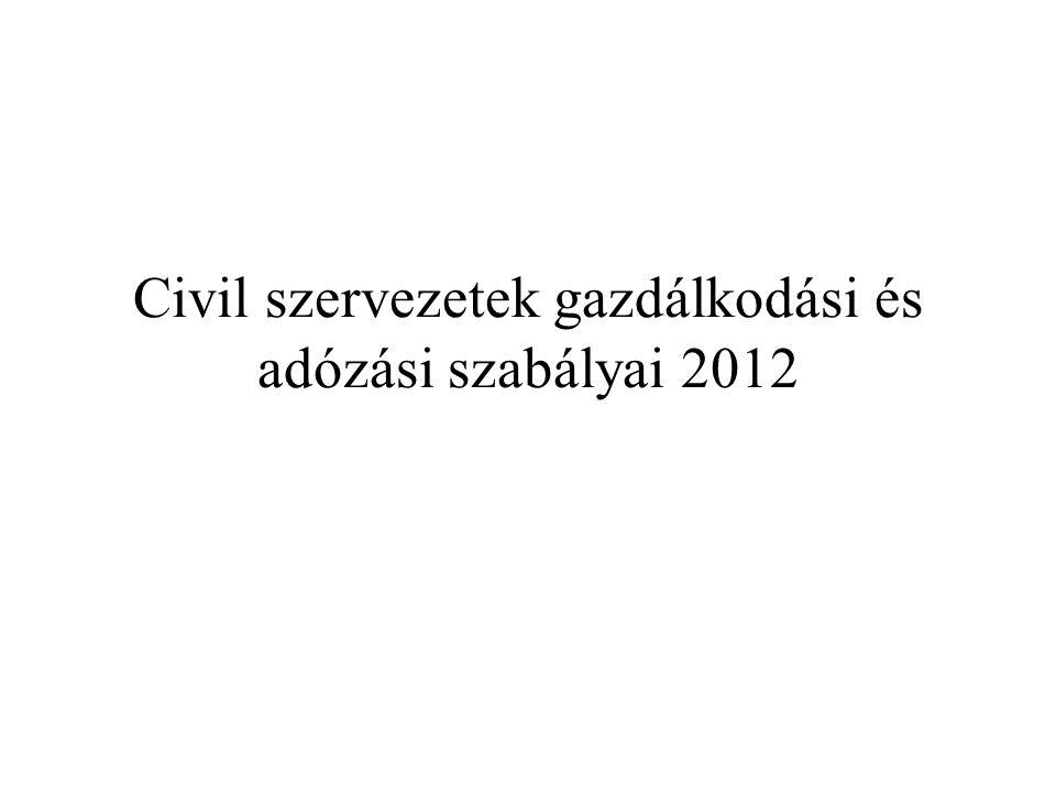 Civil szervezetek gazdálkodási és adózási szabályai 2012
