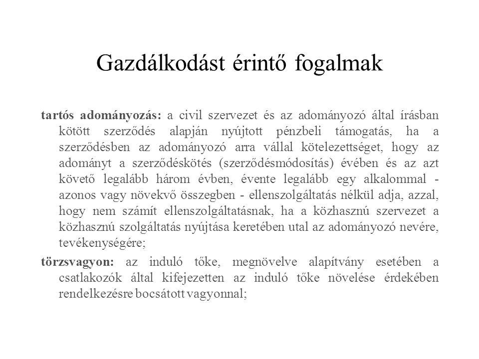 Gazdálkodást érintő fogalmak tartós adományozás: a civil szervezet és az adományozó által írásban kötött szerződés alapján nyújtott pénzbeli támogatás