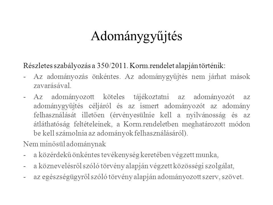 Adománygyűjtés Részletes szabályozás a 350/2011. Korm.rendelet alapján történik: -Az adományozás önkéntes. Az adománygyűjtés nem járhat mások zavarásá