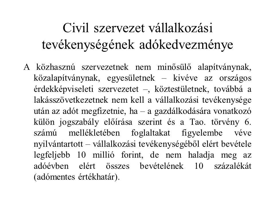 Civil szervezet vállalkozási tevékenységének adókedvezménye A közhasznú szervezetnek nem minősülő alapítványnak, közalapítványnak, egyesületnek – kivéve az országos érdekképviseleti szervezetet –, köztestületnek, továbbá a lakásszövetkezetnek nem kell a vállalkozási tevékenysége után az adót megfizetnie, ha – a gazdálkodására vonatkozó külön jogszabály előírása szerint és a Tao.