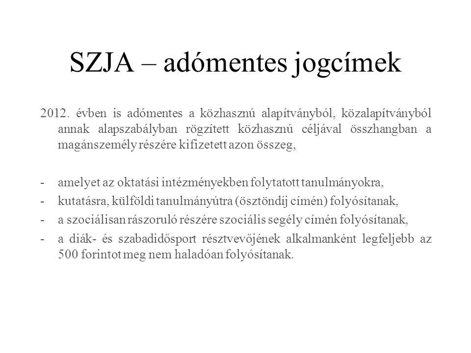 SZJA – adómentes jogcímek 2012.