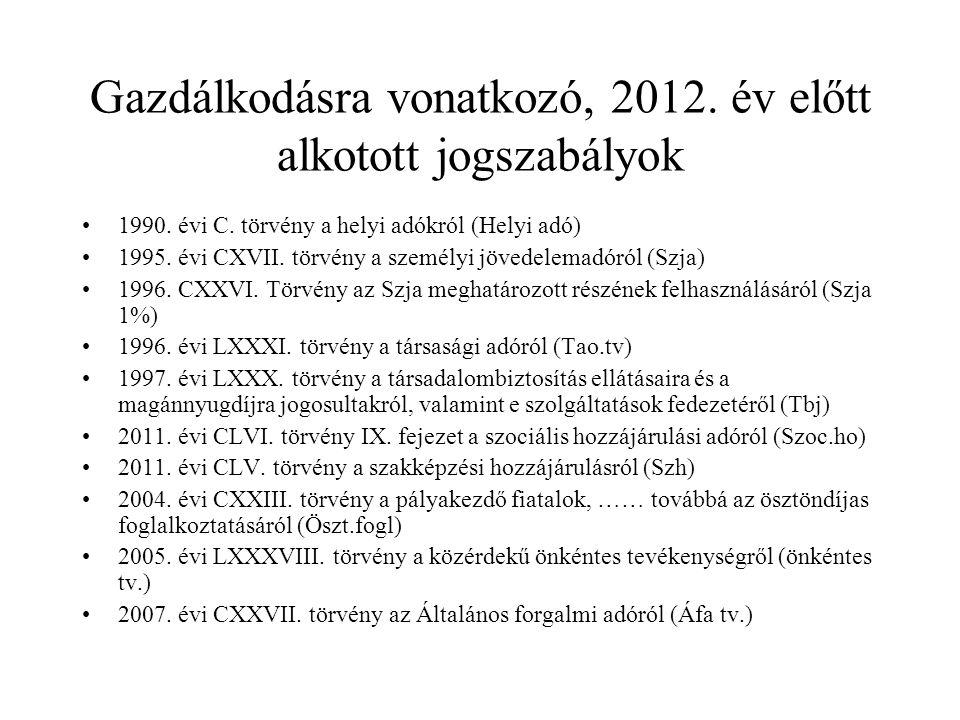 Gazdálkodásra vonatkozó, 2012. év előtt alkotott jogszabályok 1990. évi C. törvény a helyi adókról (Helyi adó) 1995. évi CXVII. törvény a személyi jöv