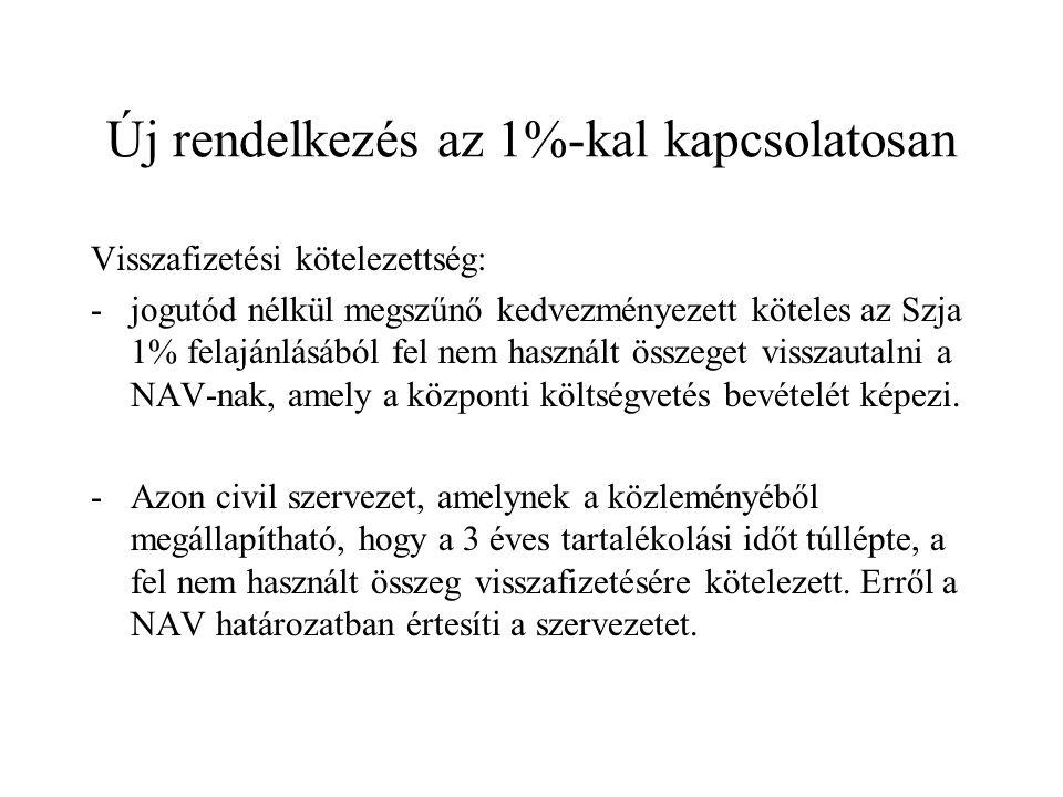Új rendelkezés az 1%-kal kapcsolatosan Visszafizetési kötelezettség: -jogutód nélkül megszűnő kedvezményezett köteles az Szja 1% felajánlásából fel nem használt összeget visszautalni a NAV-nak, amely a központi költségvetés bevételét képezi.