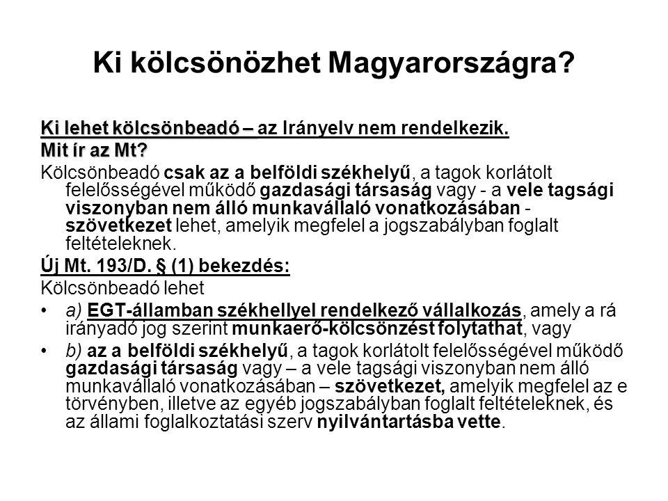 Ki kölcsönözhet Magyarországra? Ki lehet kölcsönbeadó – Ki lehet kölcsönbeadó – az Irányelv nem rendelkezik. Mit ír az Mt? Kölcsönbeadó csak az a belf