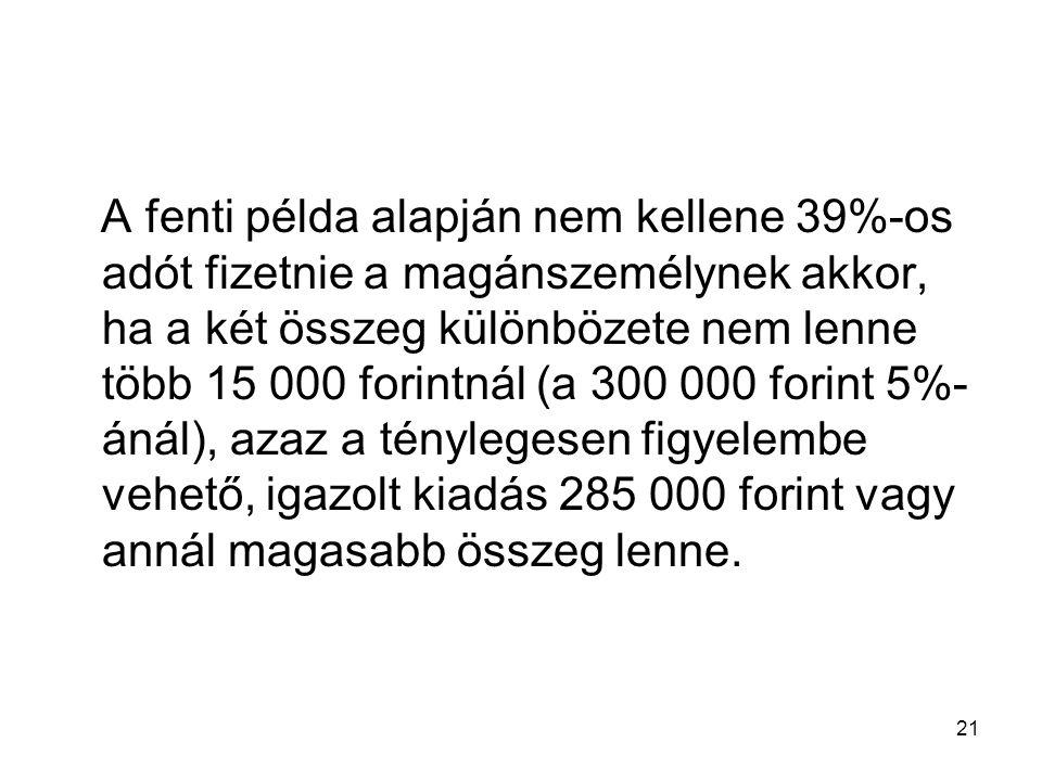 21 A fenti példa alapján nem kellene 39%-os adót fizetnie a magánszemélynek akkor, ha a két összeg különbözete nem lenne több 15 000 forintnál (a 300