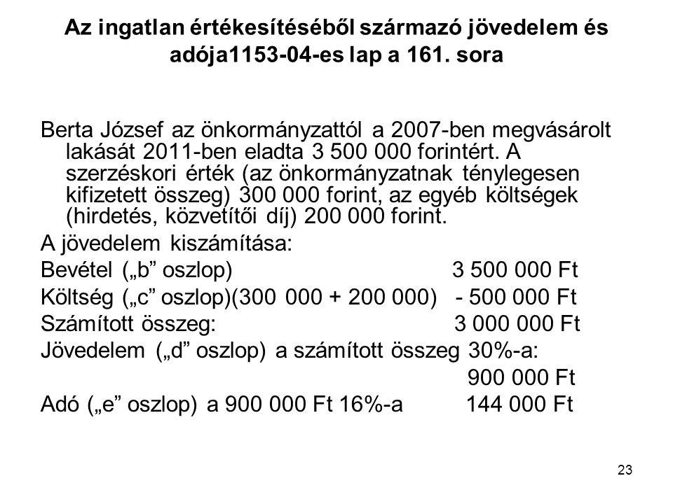 23 Az ingatlan értékesítéséből származó jövedelem és adója1153-04-es lap a 161. sora Berta József az önkormányzattól a 2007-ben megvásárolt lakását 20