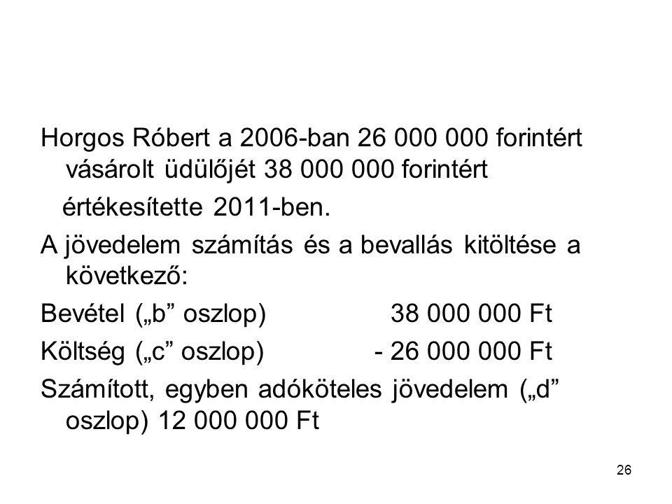 26 Horgos Róbert a 2006-ban 26 000 000 forintért vásárolt üdülőjét 38 000 000 forintért értékesítette 2011-ben. A jövedelem számítás és a bevallás kit
