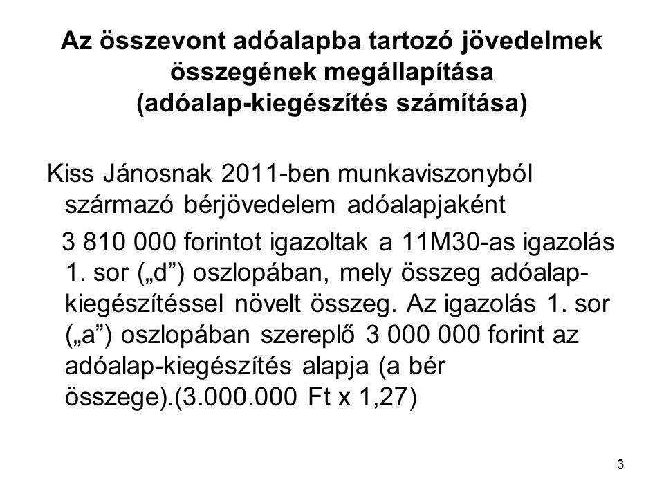 3 Az összevont adóalapba tartozó jövedelmek összegének megállapítása (adóalap-kiegészítés számítása) Kiss Jánosnak 2011-ben munkaviszonyból származó b