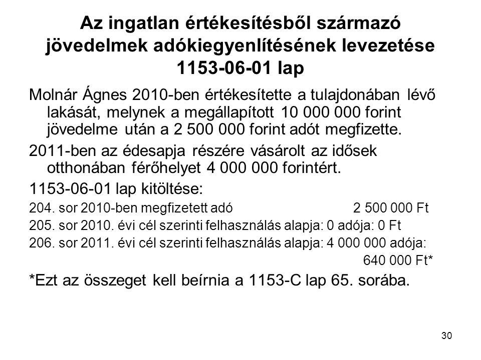 30 Az ingatlan értékesítésből származó jövedelmek adókiegyenlítésének levezetése 1153-06-01 lap Molnár Ágnes 2010-ben értékesítette a tulajdonában lév
