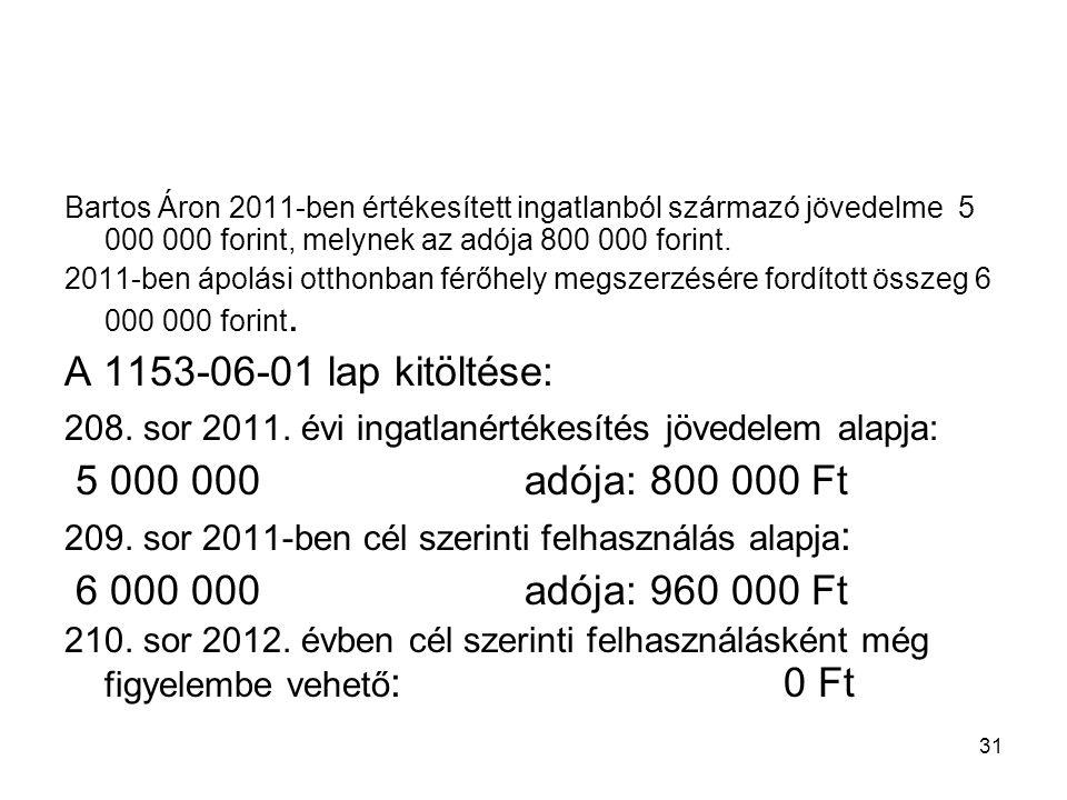31 Bartos Áron 2011-ben értékesített ingatlanból származó jövedelme 5 000 000 forint, melynek az adója 800 000 forint. 2011-ben ápolási otthonban férő
