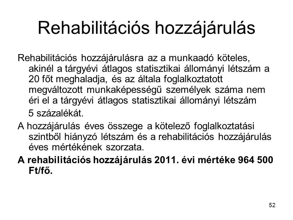 52 Rehabilitációs hozzájárulás Rehabilitációs hozzájárulásra az a munkaadó köteles, akinél a tárgyévi átlagos statisztikai állományi létszám a 20 főt