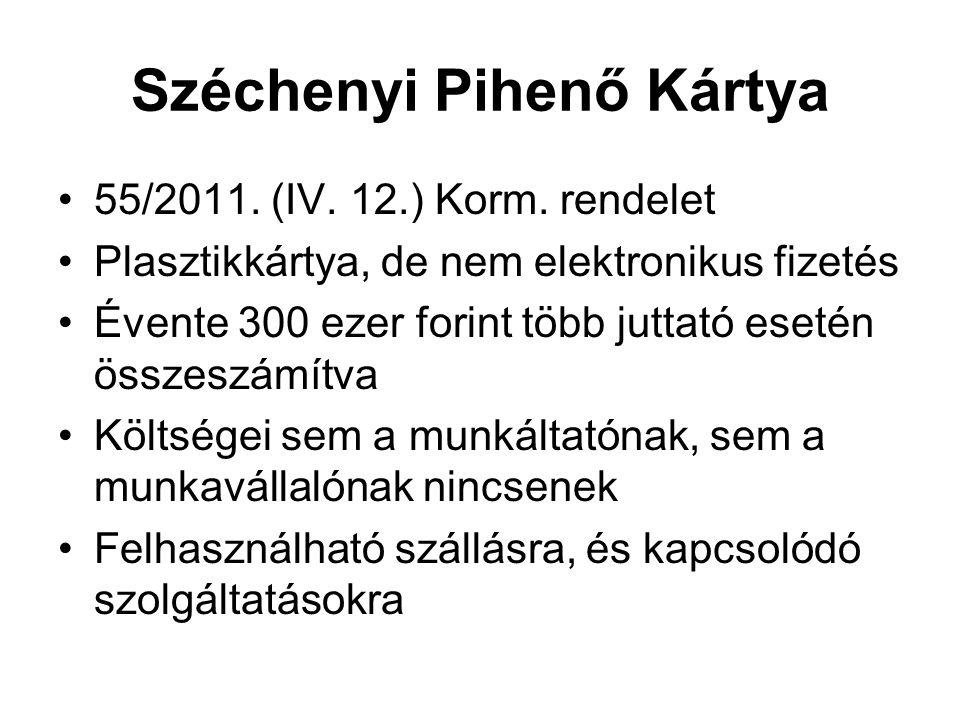 Széchenyi Pihenő Kártya 55/2011. (IV. 12.) Korm. rendelet Plasztikkártya, de nem elektronikus fizetés Évente 300 ezer forint több juttató esetén össze