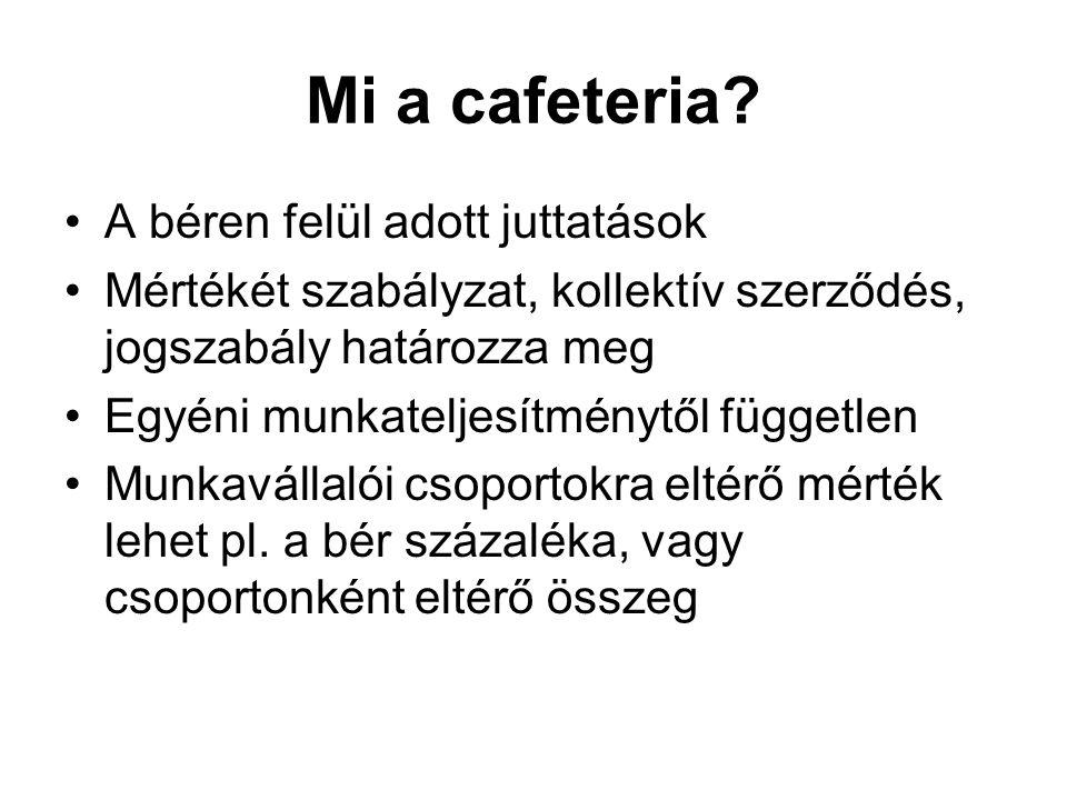 Mi a cafeteria? A béren felül adott juttatások Mértékét szabályzat, kollektív szerződés, jogszabály határozza meg Egyéni munkateljesítménytől függetle