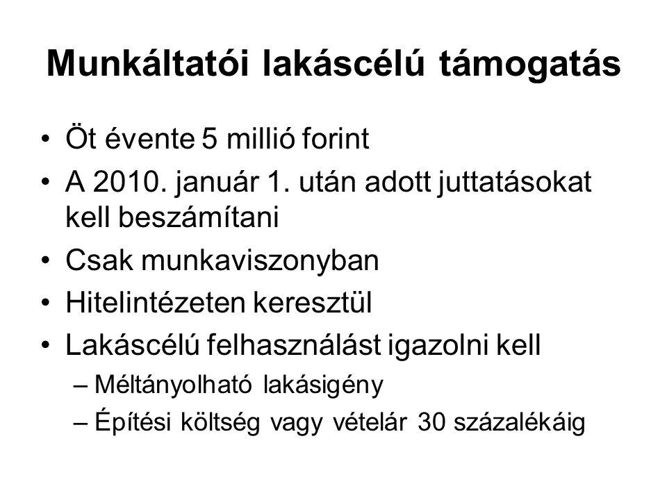 Munkáltatói lakáscélú támogatás Öt évente 5 millió forint A 2010. január 1. után adott juttatásokat kell beszámítani Csak munkaviszonyban Hitelintézet