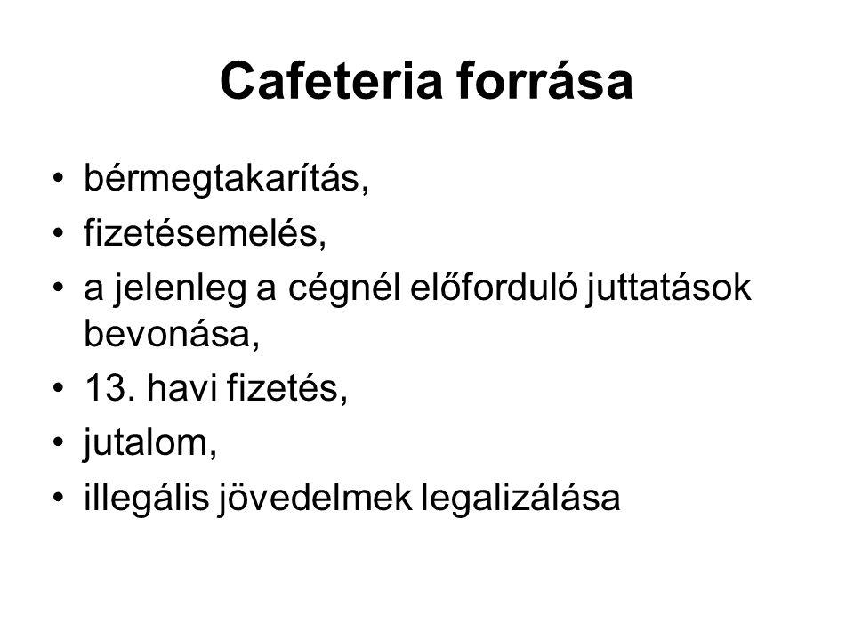 Cafeteria forrása bérmegtakarítás, fizetésemelés, a jelenleg a cégnél előforduló juttatások bevonása, 13. havi fizetés, jutalom, illegális jövedelmek