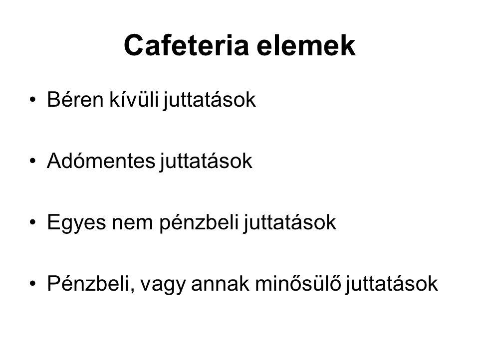 Cafeteria elemek Béren kívüli juttatások Adómentes juttatások Egyes nem pénzbeli juttatások Pénzbeli, vagy annak minősülő juttatások