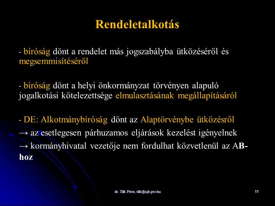 dr. Tilk Péter, tilk@ajk.pte.hu 11 Rendeletalkotás - - bíróság dönt a rendelet más jogszabályba ütközéséről és megsemmisítéséről - - bíróság dönt a he