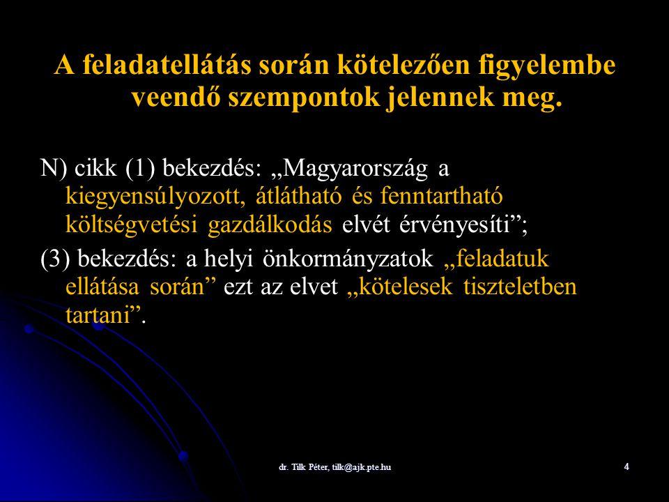"""dr. Tilk Péter, tilk@ajk.pte.hu 4 A feladatellátás során kötelezően figyelembe veendő szempontok jelennek meg. N) cikk (1) bekezdés: """"Magyarország a k"""