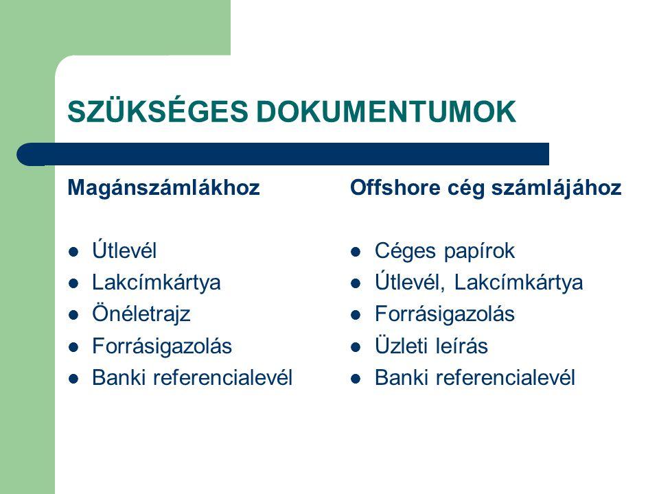 SZÜKSÉGES DOKUMENTUMOK Magánszámlákhoz Útlevél Lakcímkártya Önéletrajz Forrásigazolás Banki referencialevél Offshore cég számlájához Céges papírok Útl