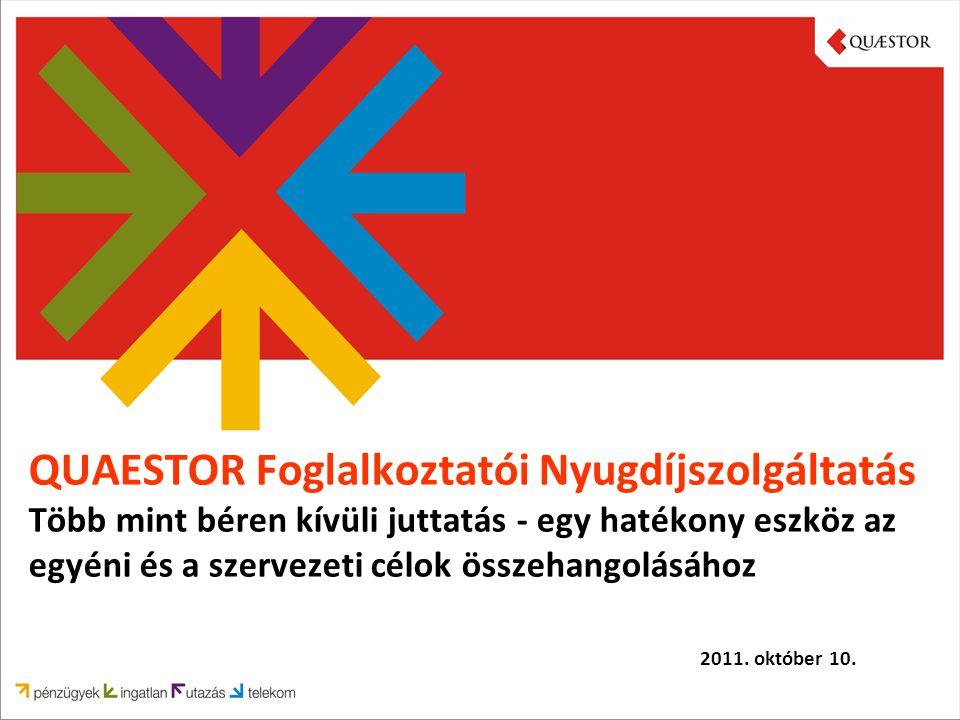 QUAESTOR Foglalkoztatói Nyugdíjszolgáltatás Több mint béren kívüli juttatás - egy hatékony eszköz az egyéni és a szervezeti célok összehangolásához 2011.