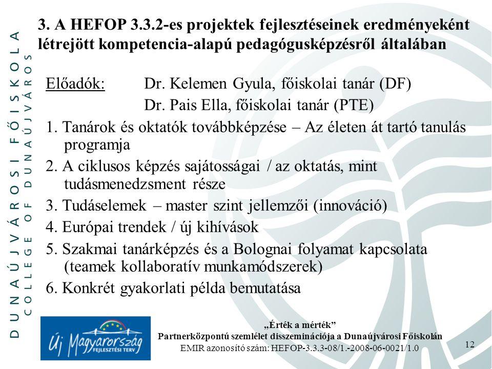"""""""Érték a mérték Partnerközpontú szemlélet disszeminációja a Dunaújvárosi Főiskolán EMIR azonosító szám: HEFOP-3.3.3-08/1.-2008-06-0021/1.0 12 3."""