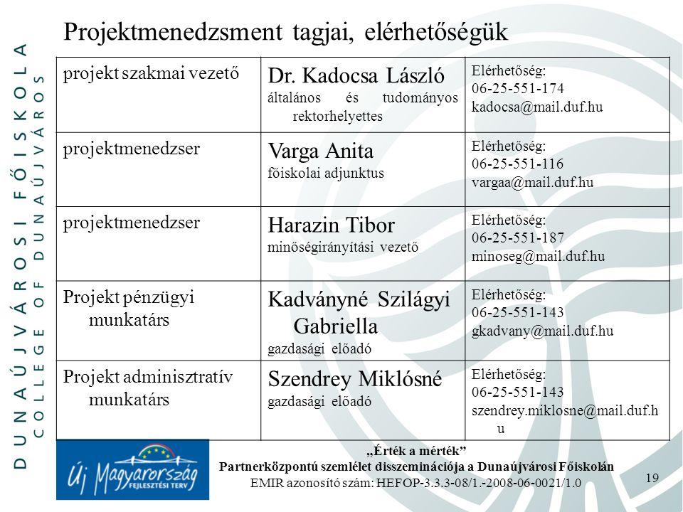 """""""Érték a mérték Partnerközpontú szemlélet disszeminációja a Dunaújvárosi Főiskolán EMIR azonosító szám: HEFOP-3.3.3-08/1.-2008-06-0021/1.0 19 Projektmenedzsment tagjai, elérhetőségük projekt szakmai vezető Dr."""