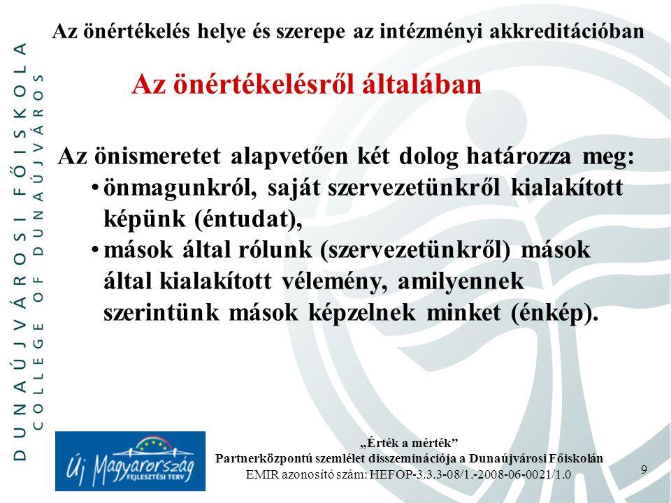 """""""Érték a mérték Partnerközpontú szemlélet disszeminációja a Dunaújvárosi Főiskolán EMIR azonosító szám: HEFOP-3.3.3-08/1.-2008-06-0021/1.0 10 Az önértékelés helye és szerepe az intézményi akkreditációban Az önértékelésről általában A szervezeti önértékelés hozadéka: mélyreható, alapos értékelő jelentés, amely bemutatja a szervezet helyzetét a kijelölt területen és folyamatokban, egy lista a szervezet erősségeiről, illetve fejlesztendő területeiről, ez utóbbiaknál a prioritások meghatározásával, számszerű értékelés, amely lehetővé teszi a szervezet előző időszakhoz mért fejlődésének figyelemmel kísérését a rendszeres időközönként megismételt önértékelések alapján."""