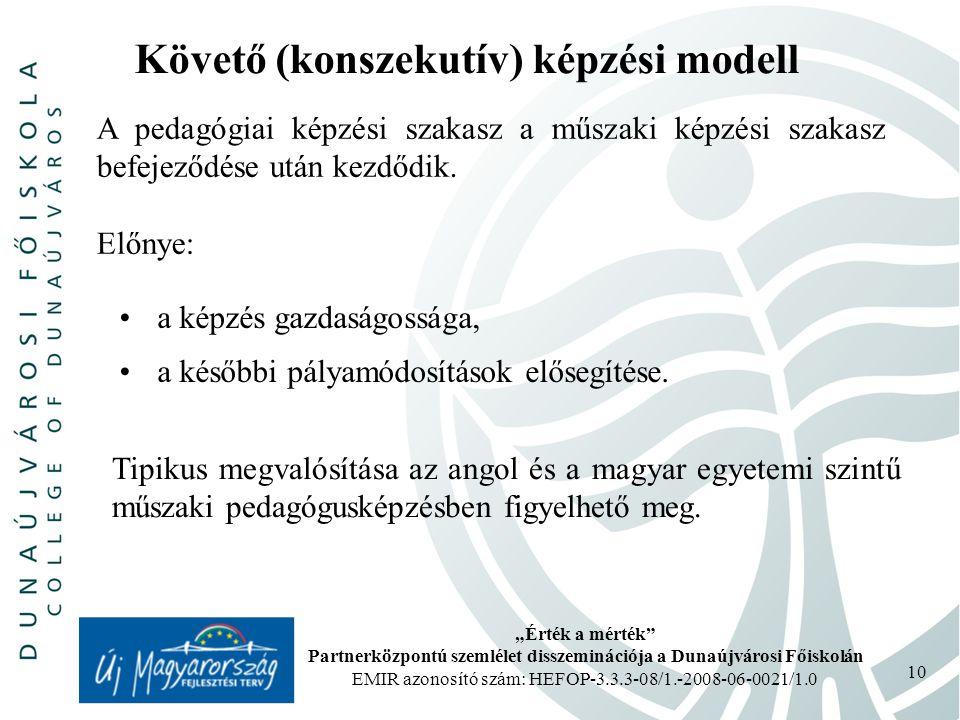 """""""Érték a mérték Partnerközpontú szemlélet disszeminációja a Dunaújvárosi Főiskolán EMIR azonosító szám: HEFOP-3.3.3-08/1.-2008-06-0021/1.0 10 Követő (konszekutív) képzési modell A pedagógiai képzési szakasz a műszaki képzési szakasz befejeződése után kezdődik."""