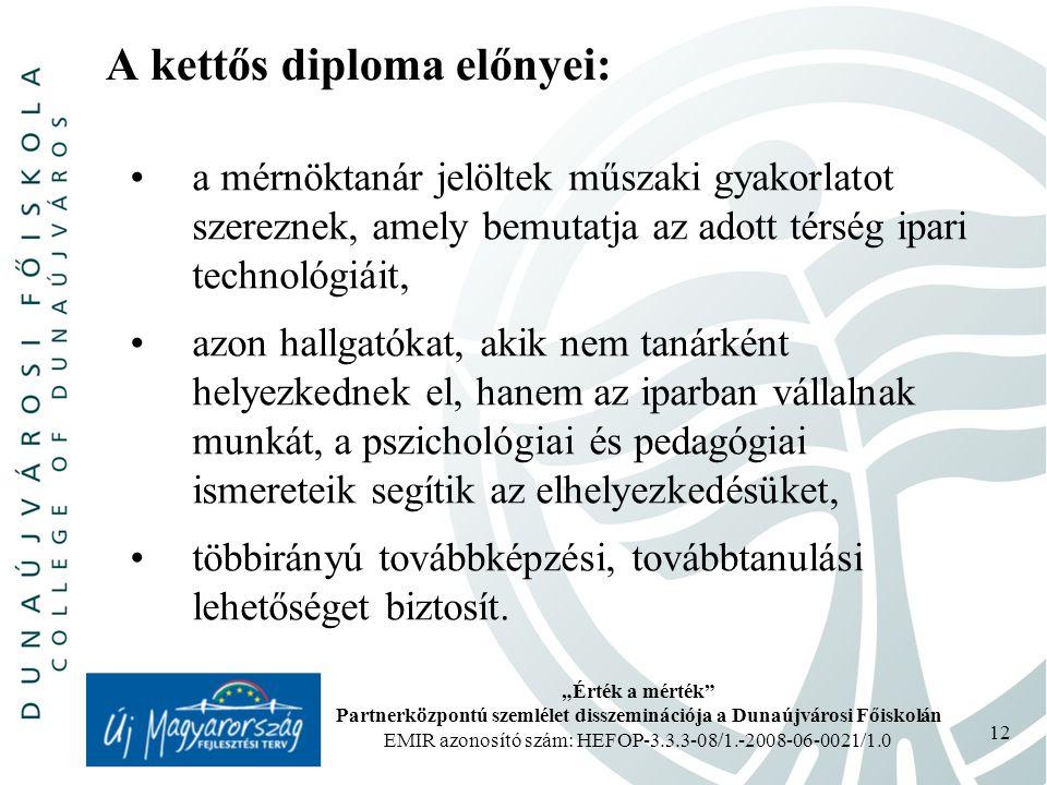 """""""Érték a mérték Partnerközpontú szemlélet disszeminációja a Dunaújvárosi Főiskolán EMIR azonosító szám: HEFOP-3.3.3-08/1.-2008-06-0021/1.0 12 A kettős diploma előnyei: a mérnöktanár jelöltek műszaki gyakorlatot szereznek, amely bemutatja az adott térség ipari technológiáit, azon hallgatókat, akik nem tanárként helyezkednek el, hanem az iparban vállalnak munkát, a pszichológiai és pedagógiai ismereteik segítik az elhelyezkedésüket, többirányú továbbképzési, továbbtanulási lehetőséget biztosít."""