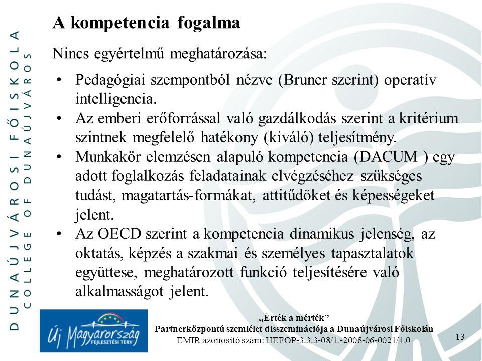 """""""Érték a mérték Partnerközpontú szemlélet disszeminációja a Dunaújvárosi Főiskolán EMIR azonosító szám: HEFOP-3.3.3-08/1.-2008-06-0021/1.0 13 A kompetencia fogalma Pedagógiai szempontból nézve (Bruner szerint) operatív intelligencia."""