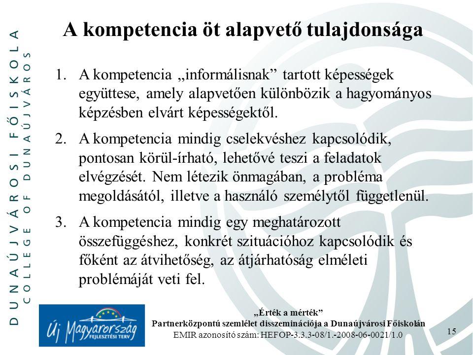 """""""Érték a mérték Partnerközpontú szemlélet disszeminációja a Dunaújvárosi Főiskolán EMIR azonosító szám: HEFOP-3.3.3-08/1.-2008-06-0021/1.0 15 A kompetencia öt alapvető tulajdonsága 1.A kompetencia """"informálisnak tartott képességek együttese, amely alapvetően különbözik a hagyományos képzésben elvárt képességektől."""